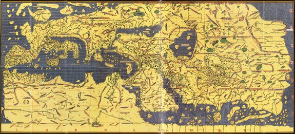 Crossing the ocean sea 1154 mohammad al idrisis world map like in ptolemys world map al idrisi connected africa to a landmass at the bottom of the earth that probably perpetuated the belief during the 1200s and gumiabroncs Images