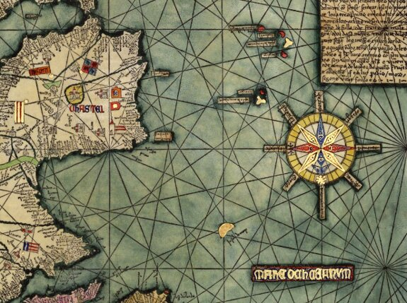 Crossing the ocean sea fourteenth century maps and charts a close up of the wind rose on abraham cresques catalan atlas majorca 13758 gumiabroncs Image collections