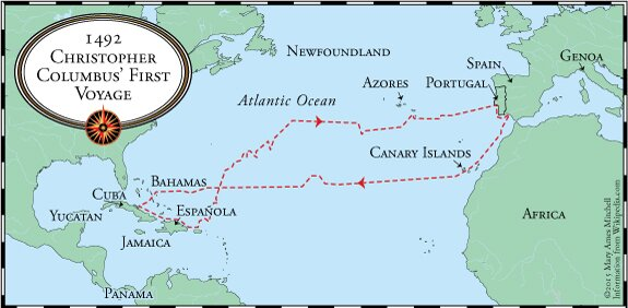 the voyages of columbus In 1492, a spanish-based transatlantic maritime expedition led by christopher columbus encountered the americas, continents which were largely unknown in europe and outside the old world political and economic system the four voyages of columbus began the spanish colonization of the americas.