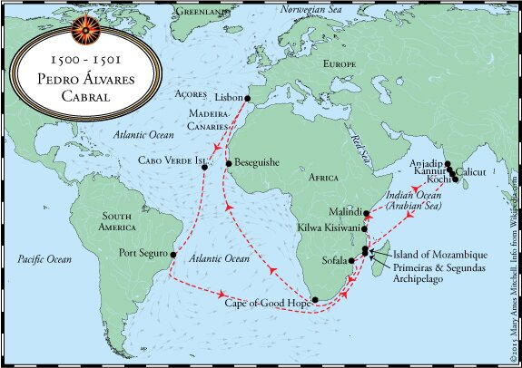 Crossing The Ocean Sea Pedro Álvares Cabral Reaches Brazil - Portugal map 1500
