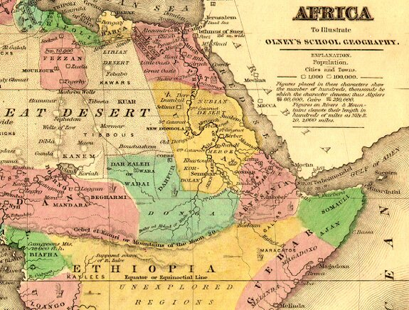 Crossing the ocean sea the legend of prester john a later map of eastern africa showing the relationship of abyssinia to ethiopia gumiabroncs Images