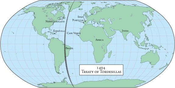Crossing the ocean sea the treaty of tordesillas as soon as christopher columbus left king joo iis castle at santa maria das virtudes the portuguese king sent a letter to his cousin queen isabella and gumiabroncs Gallery