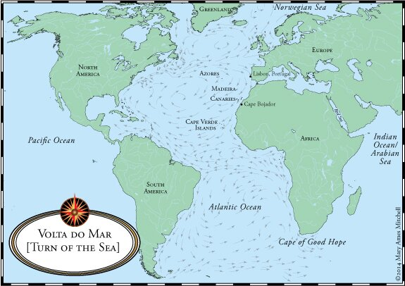Crossing The Ocean Sea The Caravel - Portugal map sea